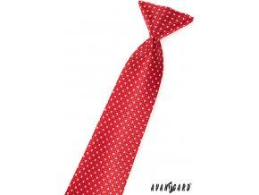 Červená chlapecká kravata s bílými čtverečky_