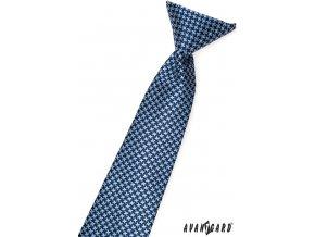 Modrá chlapecká kravata se světle modrým kostičkovaným vzorem_