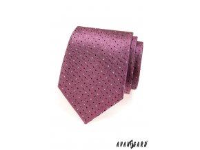 Tmavě starorůžová kravata s drobnými tečkami_