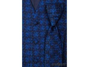 Tmavě modrá vesta se zářivě modrým vzorem + regata + kapesníček_