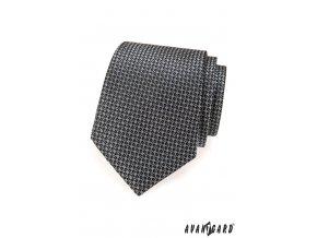 Grafitová kravata s šachovnicí_