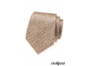 Béžová žíhaná kravata se zlatými puntíky_