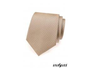 Béžová kravata s tečkami_