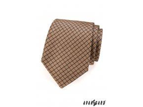Hnědá kravata s modrou mřížkou_
