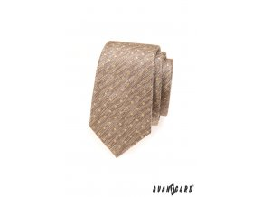 Béžová žíhaná slim kravata se zlatými puntíky_