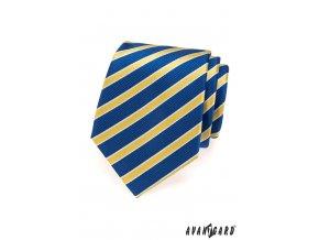 Modrá kravata s bíle olemovanými žlutými pruhy