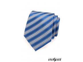 Modrá kravata s širokými světlými pruhy