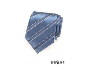 Modrá lesklá kravata s matnými pruhy
