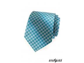 Světle tyrkysová károvaná kravata_