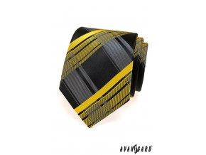 Černá kravata se žlutým károvaným vzorem_