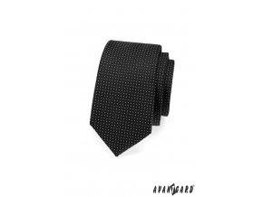 Černá slim jemně tečkovaná kravata_