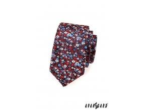 Tmavě modrá slim kravata s červeným vzorem_