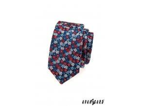 Tmavě modrá slim kravata s květovaným vzorem_