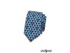 Tmavě modrá slim kravata s modrými a červenými kotvami_