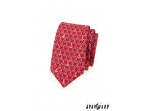 Červená slim kravata s kotvami_