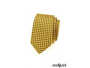 Žlutá slim kravata se vzorem šachovnice