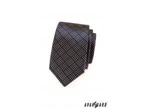 Tmavě modrá slim kravata se světle hnědými proužky_