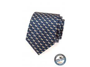 Tmavě modrá kravata se vzorem - lev