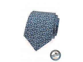 Tmavě modrá kravata s drobnými světlými kvítky