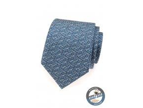 Modrá drobně květovaná kravata