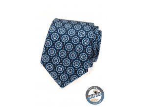 Tmavě modrá kravata s kruhovým vzorem