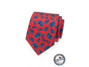 Červená kravata s modrým zaobleným vzorem