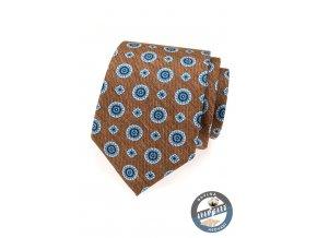 Světle hnědá kravata s modrým vzorem