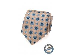 Béžová kravata s modrým vzorem