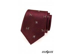 Bordó kravata se vzorem - pes