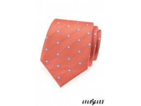 Lososová kravata se světle modrými květy