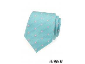 Světle tyrkysová kravata se světle růžovými květy_
