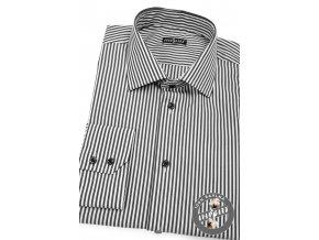Černo-bílá SLIM fit košile, dl. rukáv, 109-386