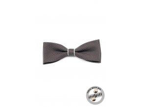 Černobílý bavlněný motýlek s puntíky a bílým detailem