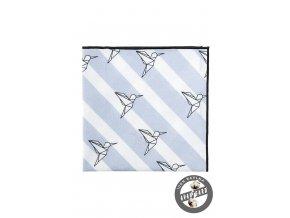 Světle modrý kapesníček s tmavým okrajem a se vzorem ptáčků - origami