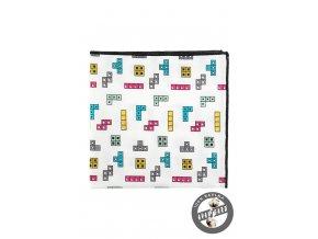 Bílý bavlněný kapesníček s barevným vzorem - hra Tetris