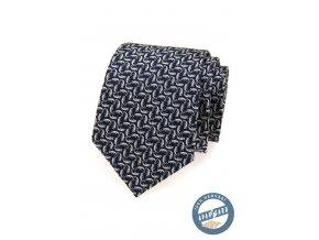 Modrá hedvábná kravata se vzorem chameleona