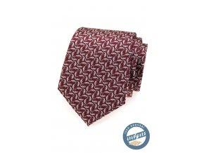 Bordó hedvábná kravata se vzorem chameleona