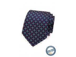 Velmi tmavě modrá kravata s červeno-bílým vzorem