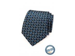 Tmavě modrá hedvábná kravata se vzorem - kapka vody