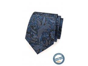 Modrá hedvábná kravata s výraznějším vzorem