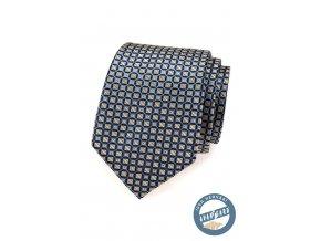 Modrá hedvábná kravata se světlými kostičkami