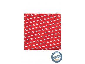 Červený hedvábný kapesníček se vzorem - králík
