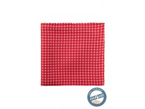 Červeno-bílý hedvábný kapesníček se vzorem