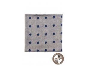 Šedý vlněný kapesníček s modrými puntíky