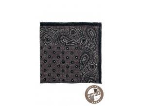 Velmi tmavě šedý vlněný kapesníček se vzorem a tmavým okrajem