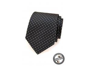 Černá hedvábná kravata s bílými tečkami