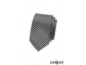 Černo-bílá SLIM kravata se zajímavým vzorem