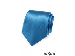 Modrá lesklá jednobarevná kravata