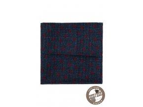 Tmavě modrý vlněný kapesníček s puntíky