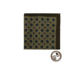 Zelený vlněný kapesníček se vzorem